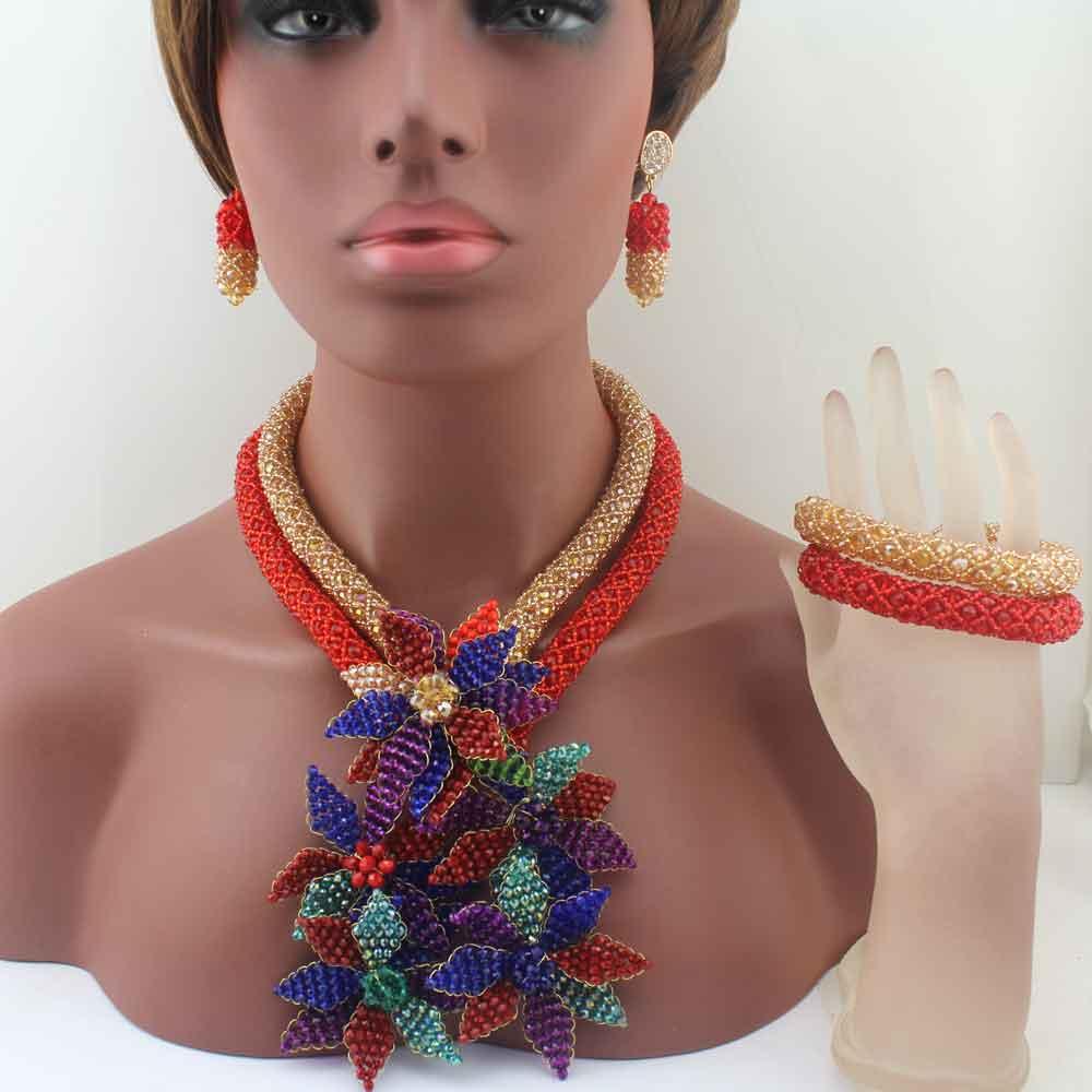 Ensembles de bijoux de perles africaines de luxe collier pendentif fleurs cristal coloré nigérian femmes perles de mariage cadeau de fête W13672