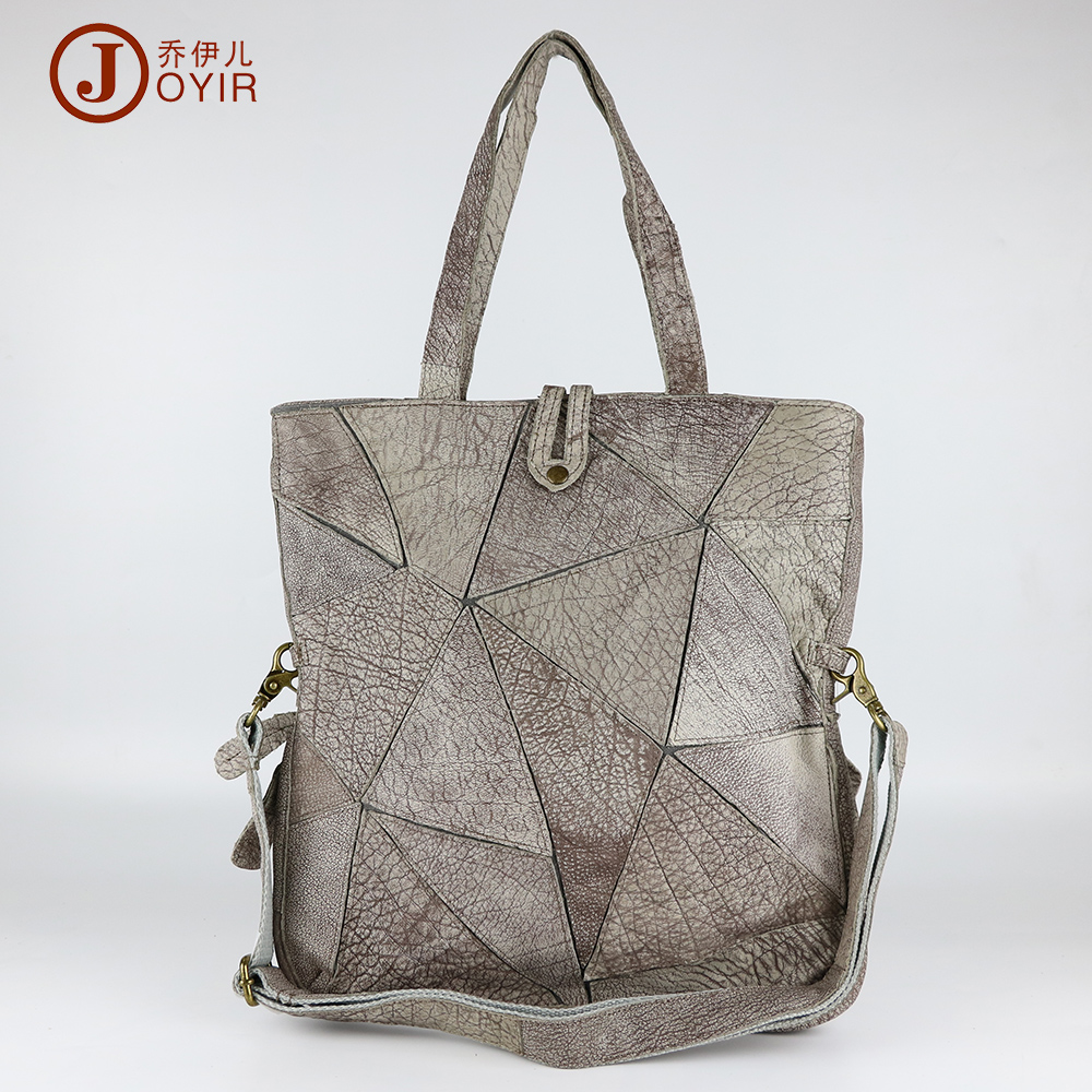 ФОТО JOYIR Vintage Women Genuine Leather Luxury Handbags Patchwork Designer High Quality Tote Bag Shoulder Bag Bolsa Feminina 9409
