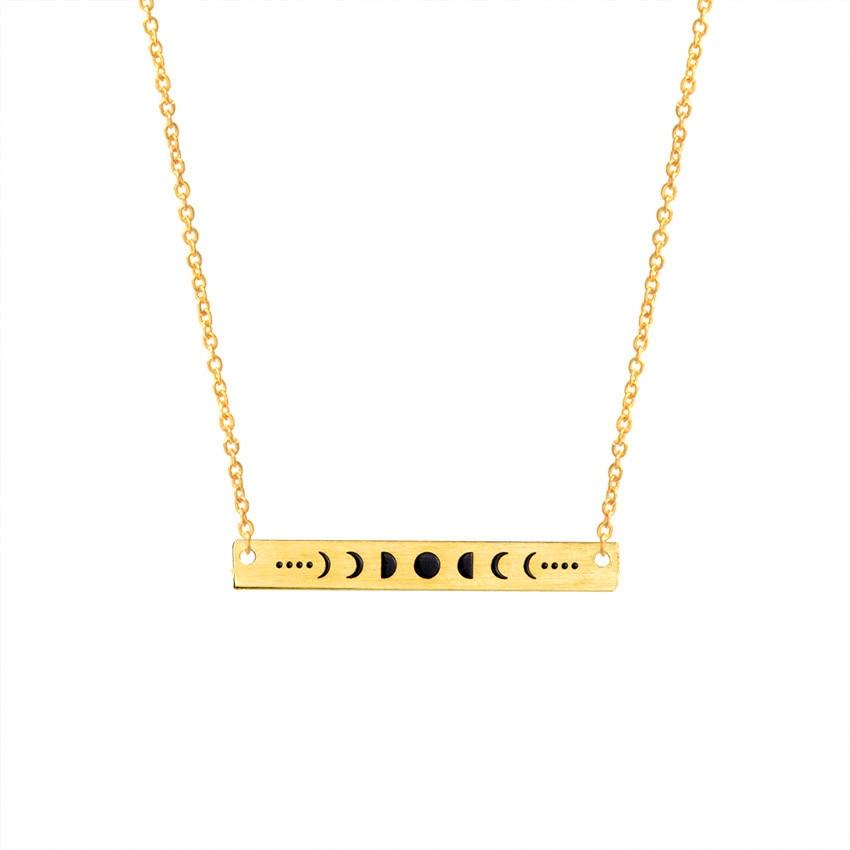 Σκούρο Φεγγάρι Φάση Δήλωση Κολιέ Γυναίκες Χρυσό Ασημένιο Ανοξείδωτο χάλυβα Ketting Long Bar Erkek Kolye Σεληνιακή Talisman Wiccan Κοσμήματα