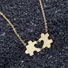 Wholesale 10piece 2 Piece Puzzle Pendant Heart Necklace Dainty Jewelry Stainless Steel Sister Gifts Autism Awareness