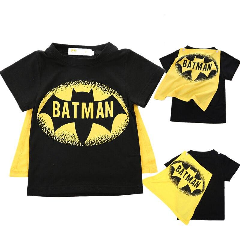 T-Shirt Superman Baby-Boys Short-Sleeve Toddler Kids Tees Batman-Cape