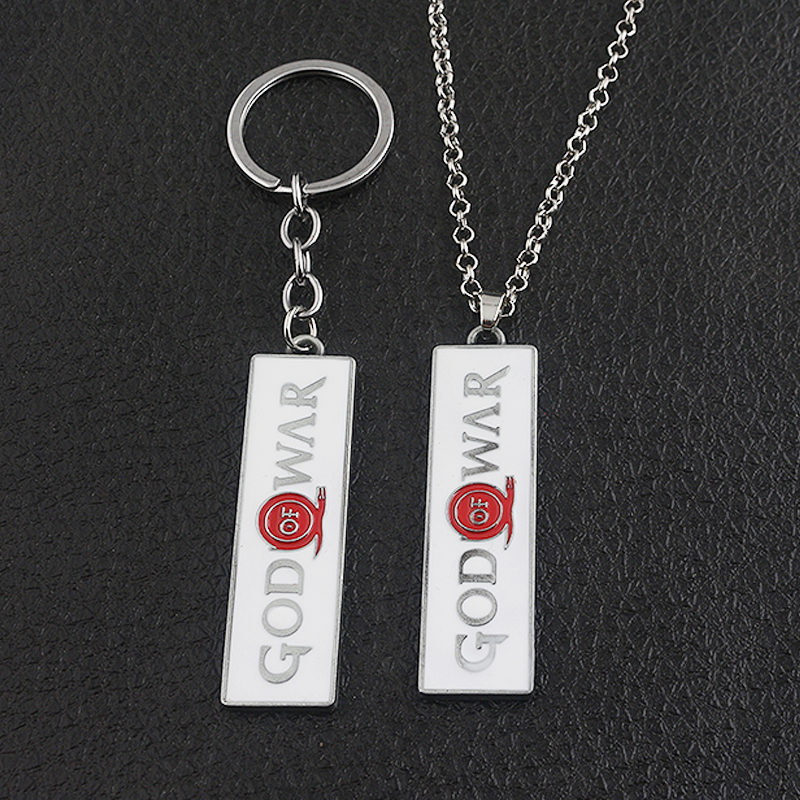 SG New Game Silver Red Letter God Of War Logo Keychains High Quality Suqare Metal Alloy Women Men Car Bag Keyring Friend Gift