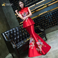 Red Mermaid Evening Dresses 2016 Gules Bride Marry Long Qipao Woman Banquet Autumn Wedding Cheongsam Chinese Traditional Dress