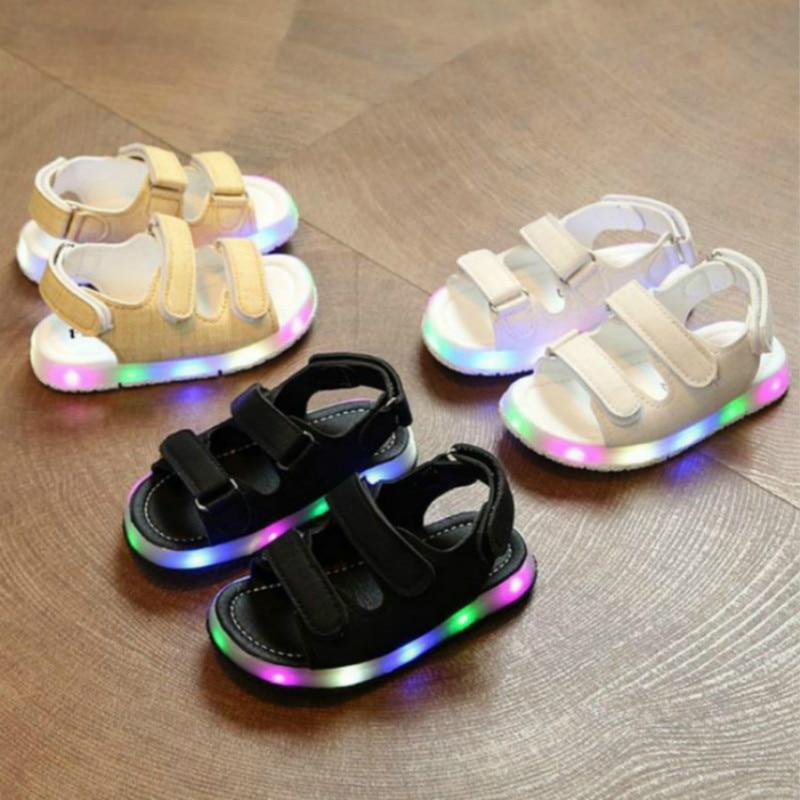 New Summer Kid Led Glowing Light Sandals Boy Girl Sport Casual Light Shoes Children Baby Flat Shoes Newborn Beach Leather Sandal