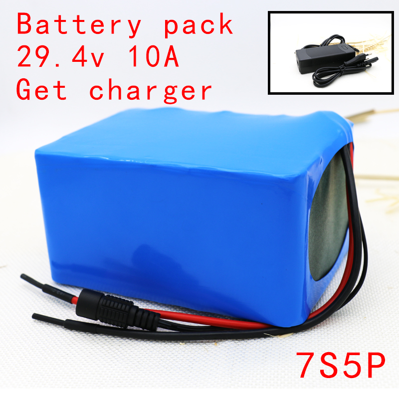 Get 2A charger 18650 7s5p 24V 29.4V 10Ah lithium battery electric bicycle light weight ebike Li-ion batteries+protection board 10pcs lot 2s li ion lithium battery 18650 charger protection module board 3a 7 4v 8 4v free shipping
