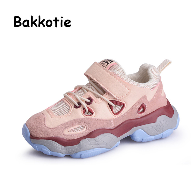 Bakkotie 2019 Kids Spring Fashion Geniune Leather Sneakers Girls Pink  Running Shoes Boys Breathable Mesh Soft Casual Shoes 5512867e185e