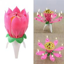 Art-Crafts Candle-Lights Bougie Decoration Lotus-Flower Romantic Party Musical Kids Gift