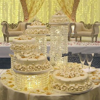 4pcs/Lot Cake Stand Wedding Decoration Centerpiece Cake Display Birthday Acrylic Crystal Hanging Beads