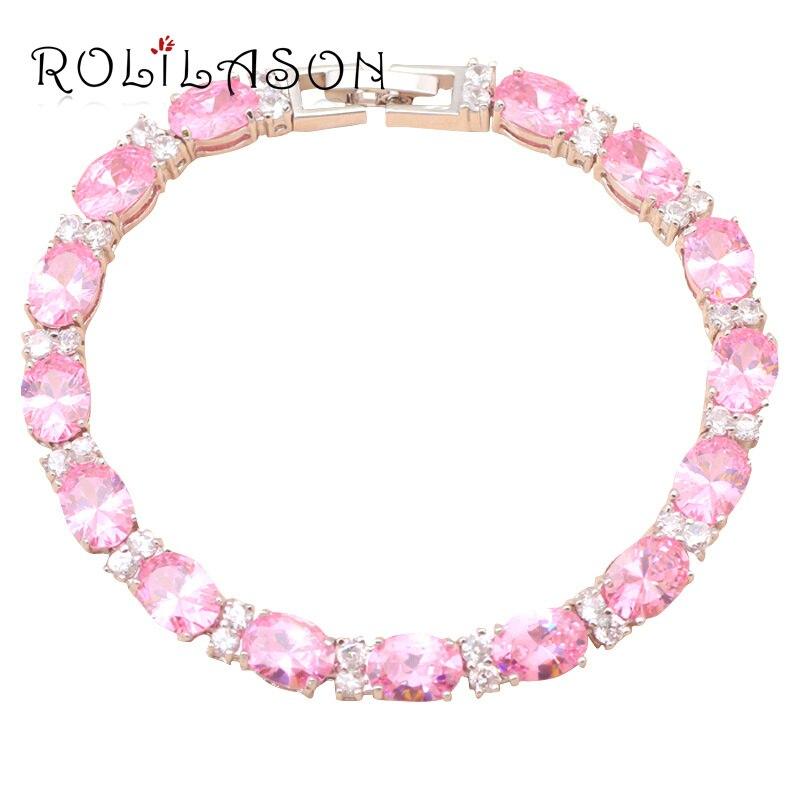Glittering Pink Crystal & AAA Zircon delicate brace