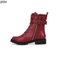 QZYERAI size 34 43 Autumn high quality women's boots fashionable zipper boots short boots European vintage women's shoes
