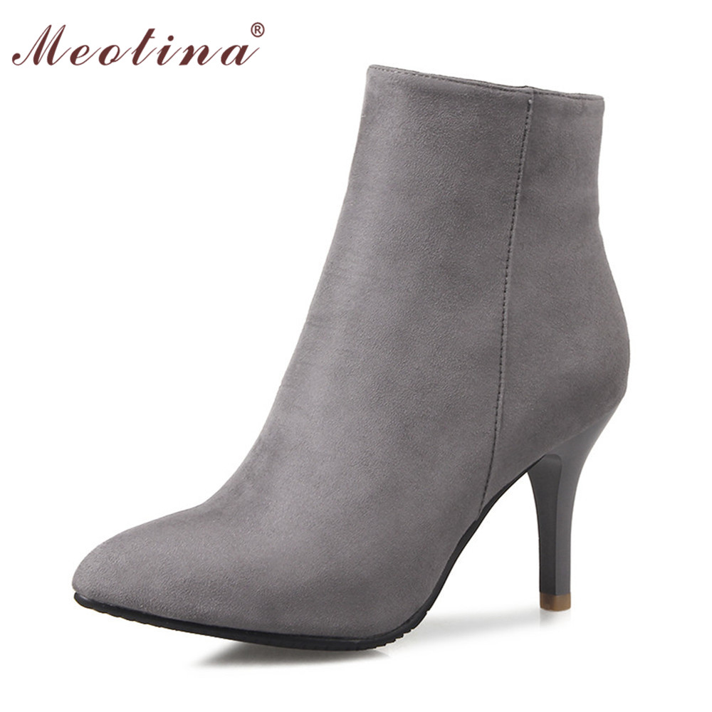 Meotina Design High Heel Boots Shoes Women Ankle Boots Grace Pointed Toe High Heels Ladies Boots Zipper Gray Red Big Size 12 46 meotina high heels shoes women pumps party shoes fashion thick high heels pointed toe flock ladies shoes gray plus size 10 40 43