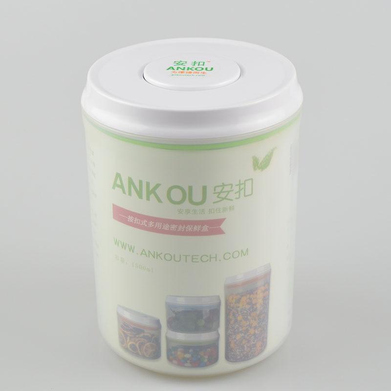 New Design 1500ml Food Grade Bpa Free Round Plastic
