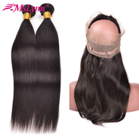 Mslynn 360 Lace Frontal With Bundle Peruvian Straight Hair 2 Bundles With Closure 360 Frontal With Bundles Non Remy Natural Hair
