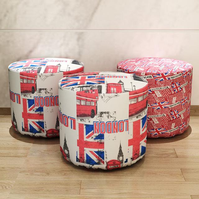 Estilo britânico de Moda Arte Pano de Mobiliário de Escritório Em Casa Cadeira Fezes Tecido de Revestimento Macio Sala Sapatos Fezes Fezes Portátil