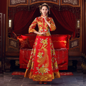 China Style wedding dress Bridal Embroidery cheongsam Overseas Traditional bride Elegant Qipao suits womens Plus Size S-5XL