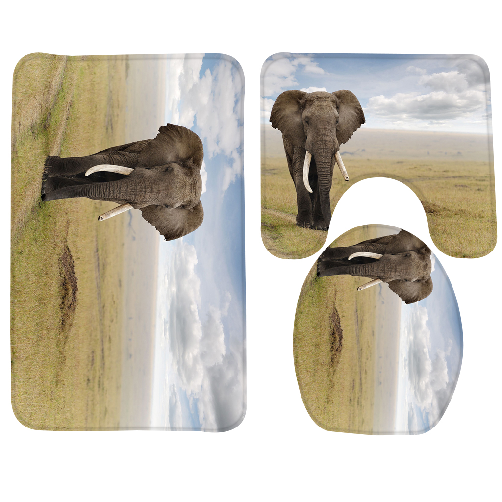 3pcs Bath Mat Set Elephant Walk On The Grass Pattern Bath