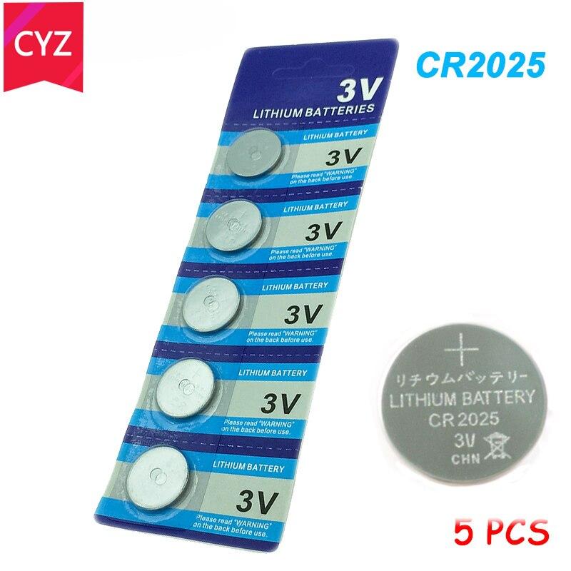 5pcs/Lot  CR2025 3V Cell Coin Button Battery Batteries Lithium Li-ion ECR2025 DL2025 BR2025 KL2025 L2025 Watches Clocks Toys