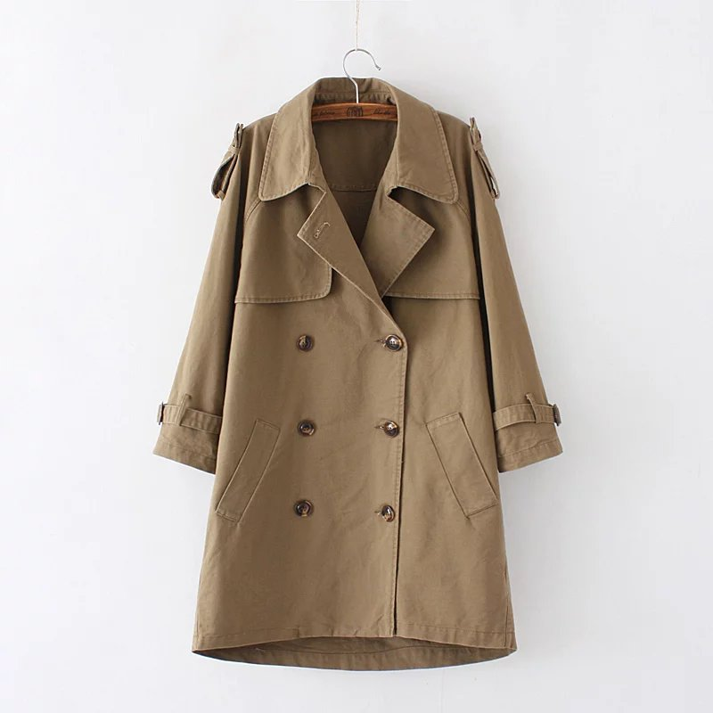 Women Petite Classic Cotton   Trench   Coat Double-breasted   Trench