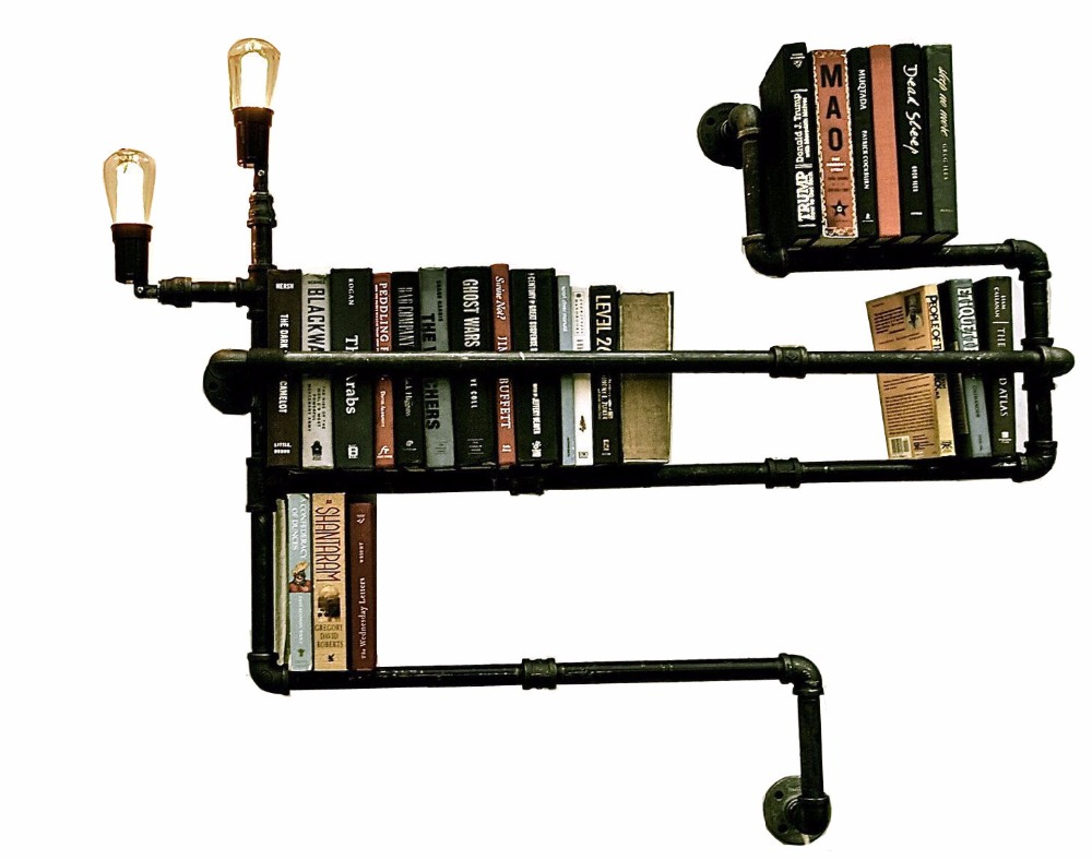 DIY Lamp Pipes ShelvesFrench Country Style Wall Shelf Water Pipe Design Book Shelf-in Wind ...