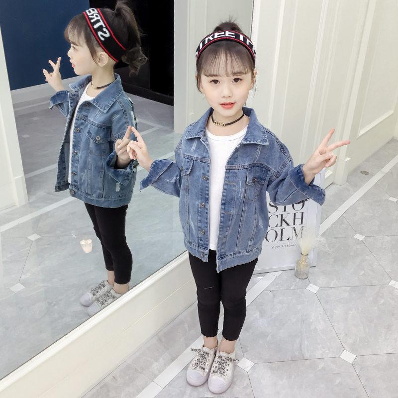 2019 Fashion Childern Denim Coat&Outerwear Baby Girls Jacket Kids Jean Outfits Teenager Girl Cartoon Coat 4-13
