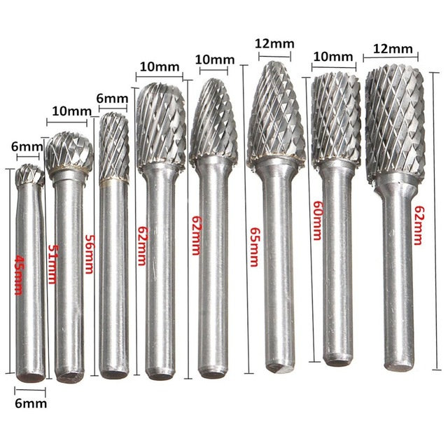 8 Pcs/set 6mm-12mm Tungsten Carbide Burr Bit CNC Engraving 1/4