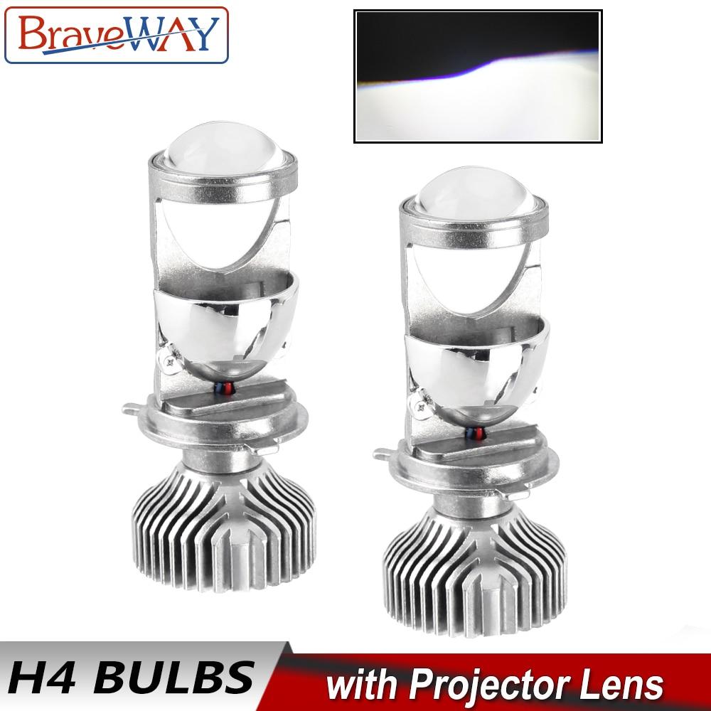 BraveWay H4 Levou Lente Do Farol Lâmpadas para Car Atuo Lâmpadas 12V LEVOU CANBUS Livre de Erros LED H4 Lâmpadas com mini Projetores de Luz 5500K
