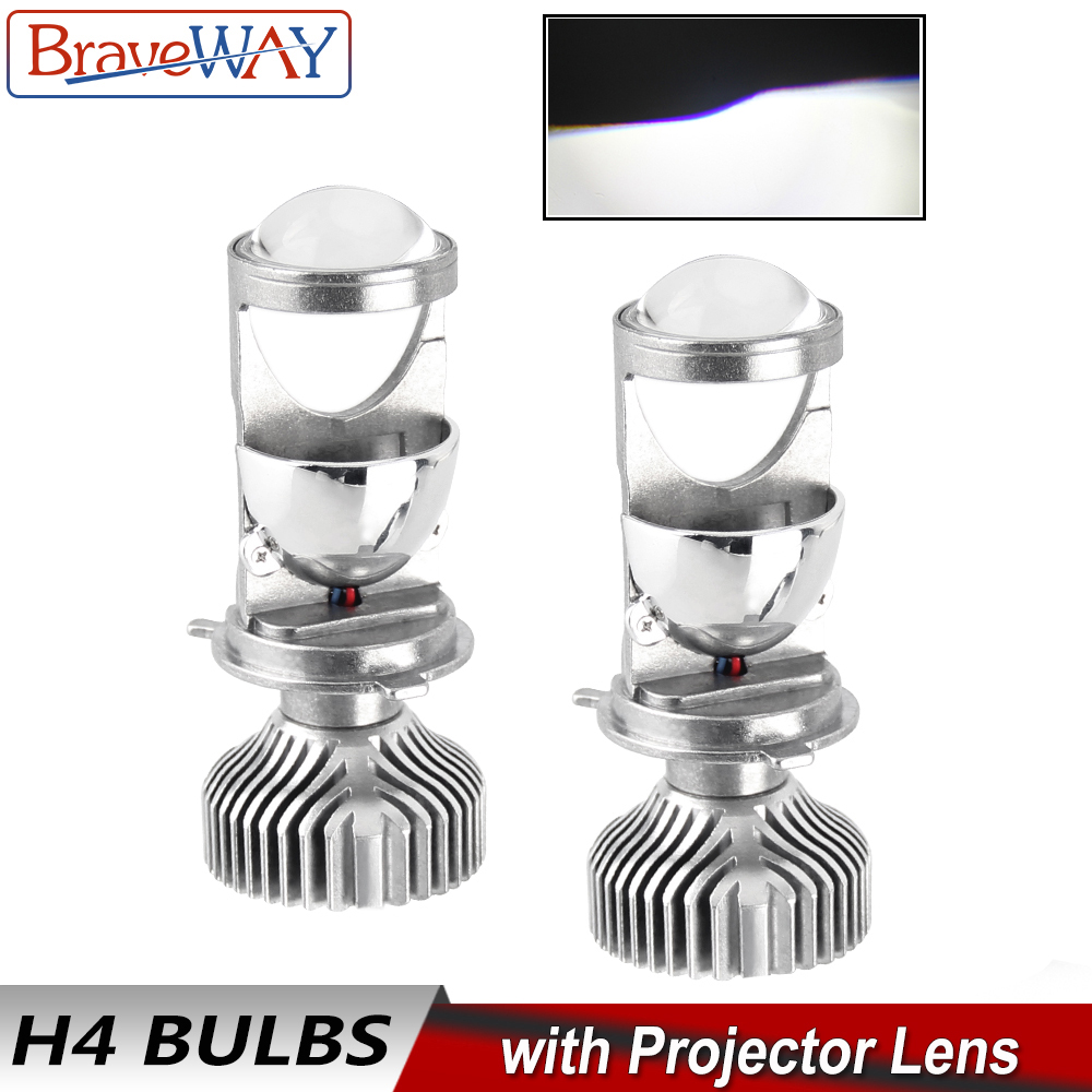 BraveWay H4 Led Lens Headlight Bulbs For Car Error Free Atuo Lamps 12V LED CANBUS LED H4 Bulbs With Mini Projectors 5500K Light