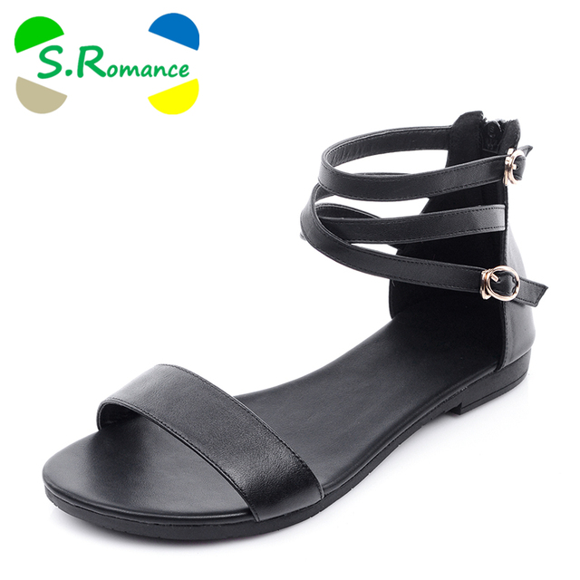 S.Romance Genuine Leather New Arrival Hot Sale Fashion Sweet Women Flats Heel Sandals Casual Buckle Strap Women Shoes SS230
