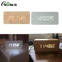 나무 LED 알람 시계 소리 제어 온도 달력 전자 데스크탑 디지털 테이블 시계 홈 장식