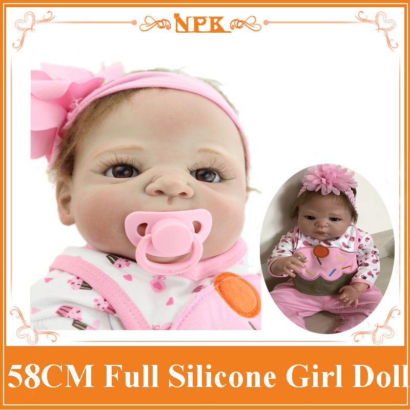 NPK New Arrival 58cm Full Silicone Reborn Baby Girl Dolls Bonecas Bebe Reborn As Play House Toys Doll Babies Girl Brinquedos new arrival 18inch doll npk american sweet girl with curly long hair in floral skirt dress bonecas bebe kids gift brinquedos