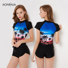 AONIHUA New Swimsuit Women Rashguard Short Sleeve Surf Suits Plus Size High Waist Print Bating Suits Two Piece Black Swimwear цена