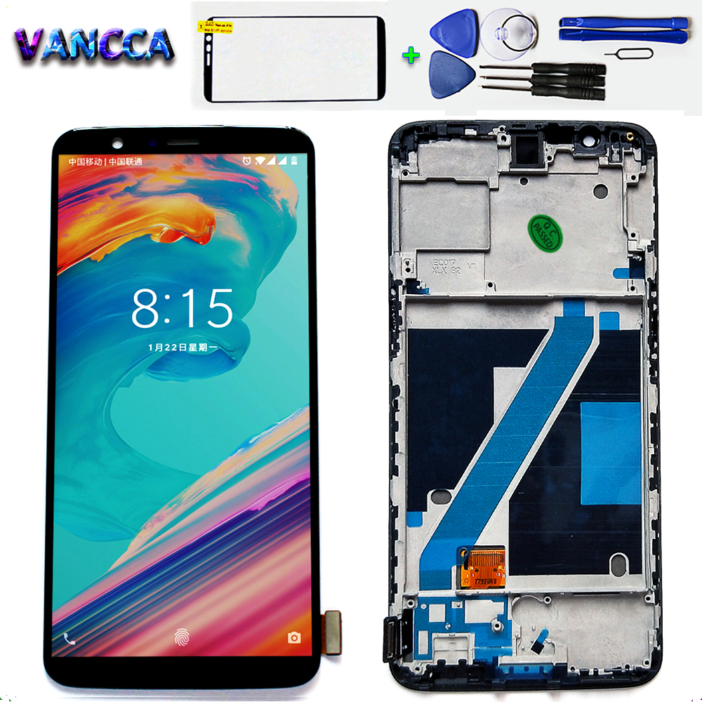 AAA Amoled LCD Display For Oneplus 5T A5010 touch screen 2160*1080 Digitizer Assembly 6.01 inch Frame with Free Tempered Glass-in Mobile Phone LCD Screens from Cellphones & Telecommunications    1