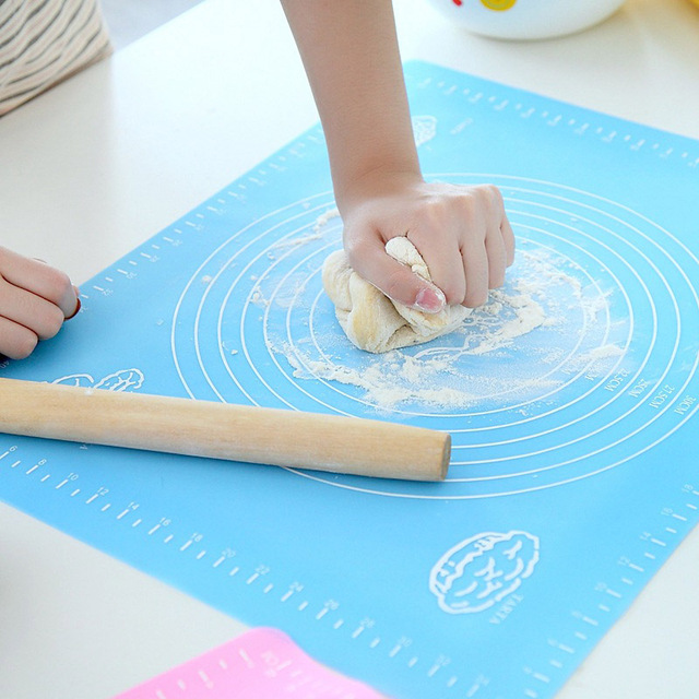 1pc 비 스틱 실리콘 매트 롤링 반죽 라이너 패드 과자 케이크 Bakeware 붙여 넣기 밀가루 테이블 시트 주방 도구