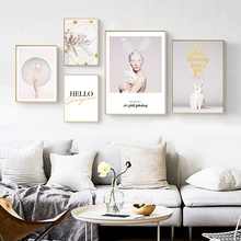 Beauty Character Pink Flower Bunny Creative English Canvas Painting Art Abstract Print Poster Picture Wall Modern Home Decor