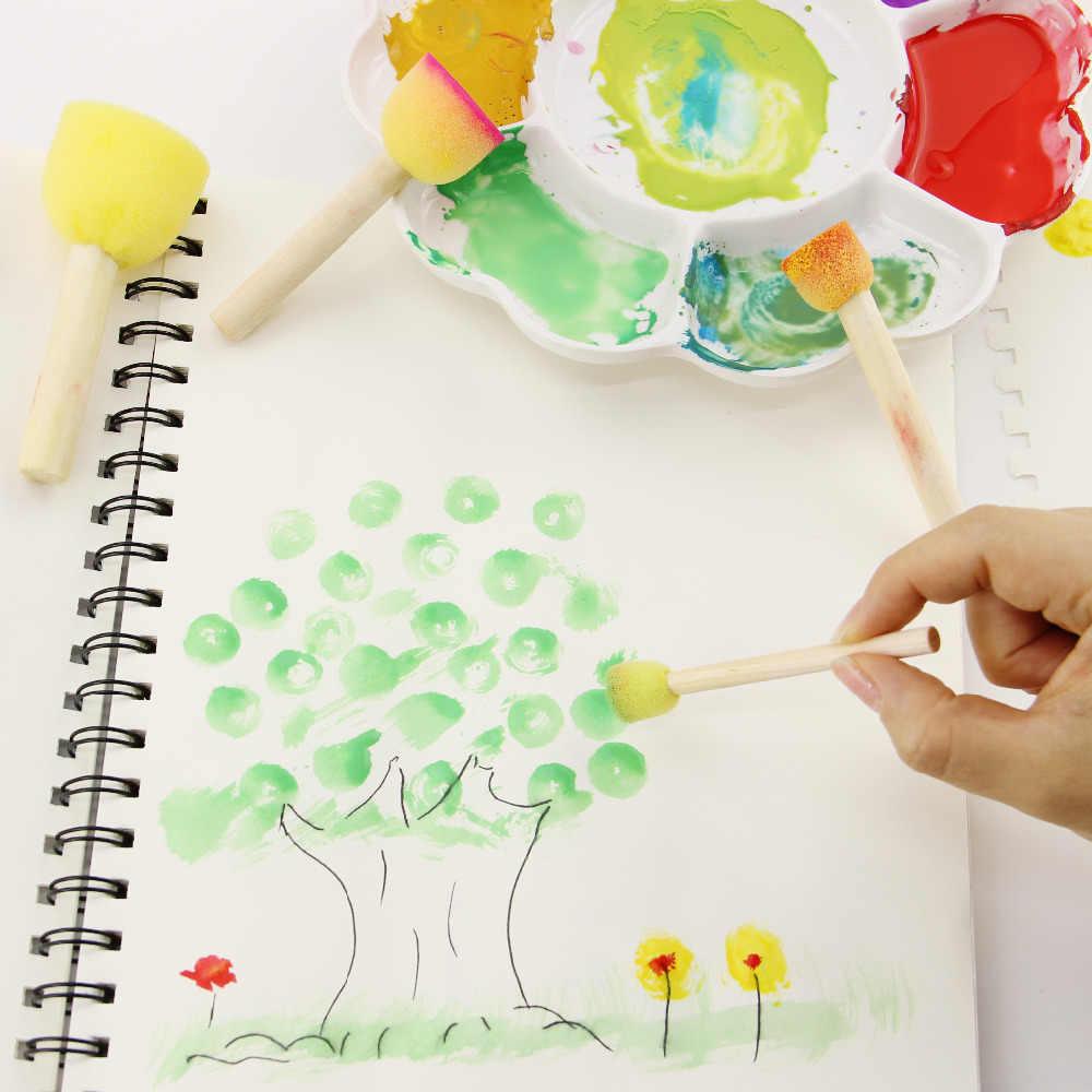 4 ชิ้น/เซ็ตเด็กฟองน้ำแปรงไม้เดิม Handle ภาพวาดเด็ก Graffiti 4 ขนาดเด็กการเรียนรู้ของเล่น