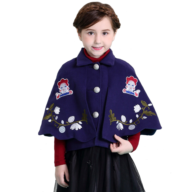 Girl Cloak Coat Winter Woolen Embroidered Thicker for Children Short Single Breasted Outwear High Quality 4y-12y free shipping boruoss 2015 new fashion winter cotton coat women short single breasted coat boruoss w1292
