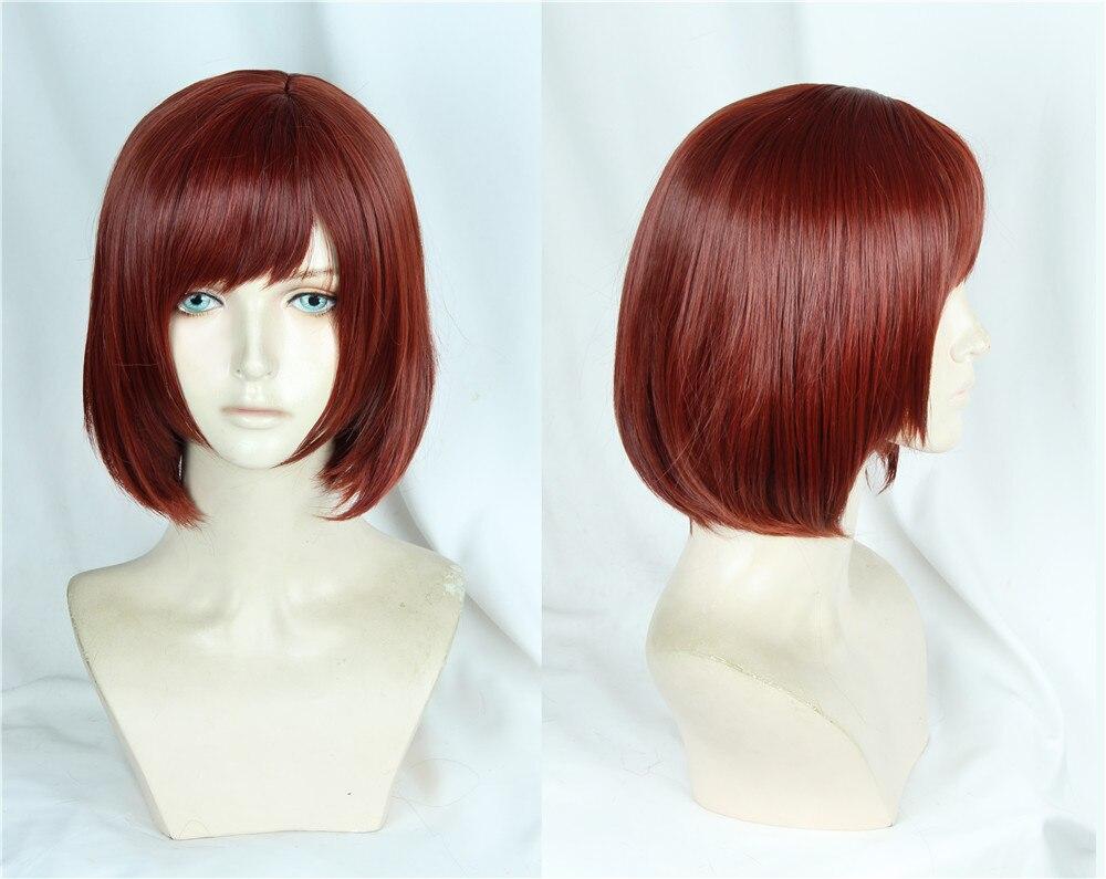 Kingdom Hearts III Kairi Cosplay Wig Short Reddish Brown Heat Resistant Bob Styled Synthetic Hair Halloween Cosplay Costume Wig