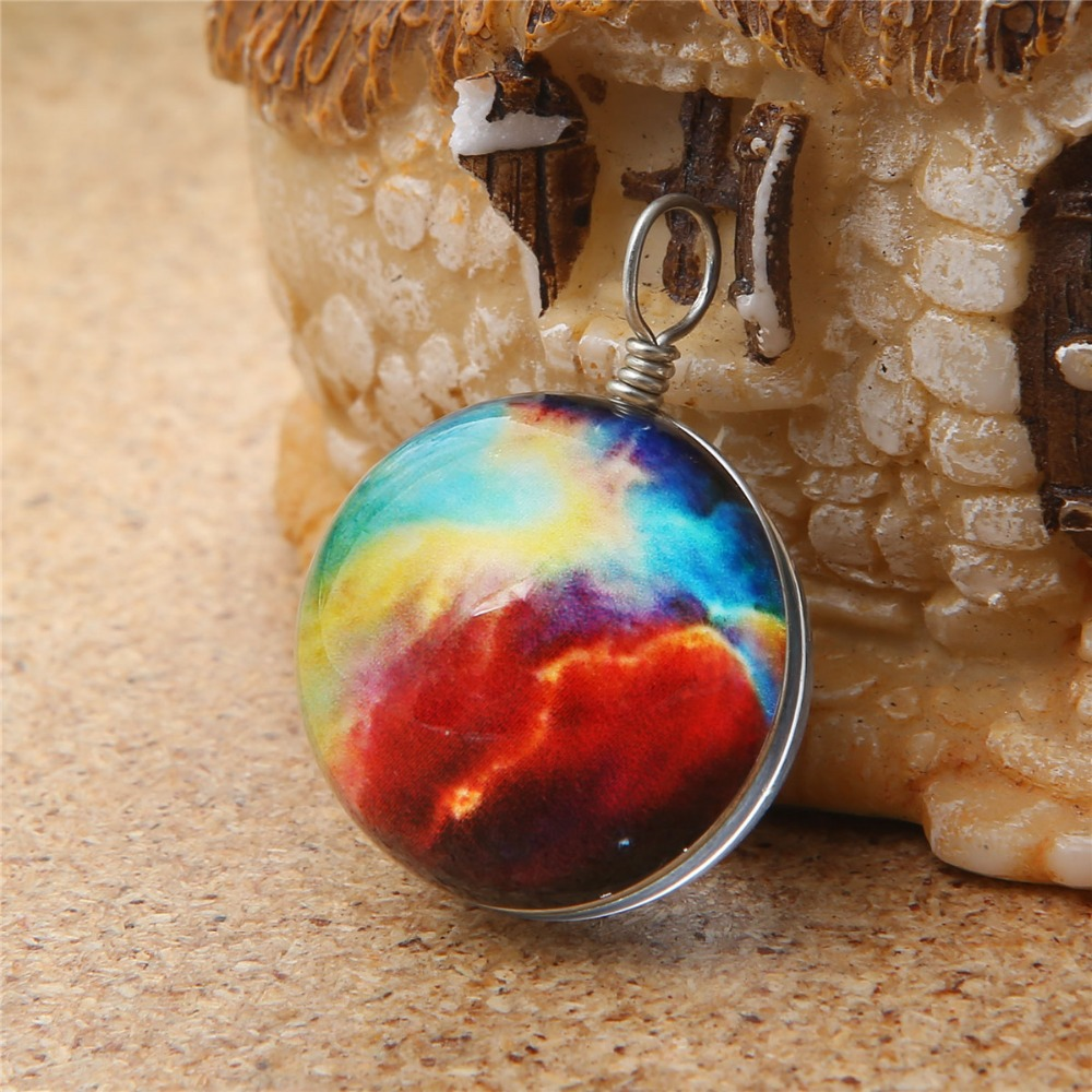 earth sun Satu ball universe photo pendant necklace sky colorful necklace chain jewelry glass ball charm 7584