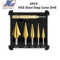 6pcs HSS Steel Step Cone Drill Titanium Bit Set Reduzieren Reibung Gold Hohe Geschwindigkeit stahl 4241
