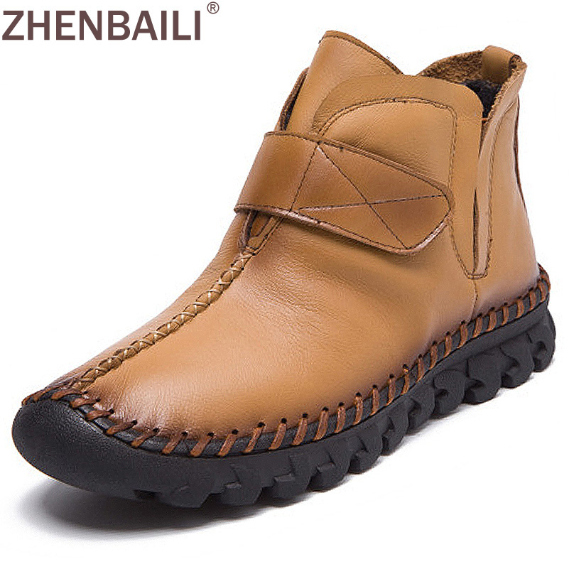 Genuine Leather Shoes Women 2017 Autumn Fashion Sewing Casual Flat Ankle Boots Warm Short Plush Winter Boots Ladies Shoes front lace up casual ankle boots autumn vintage brown new booties flat genuine leather suede shoes round toe fall female fashion