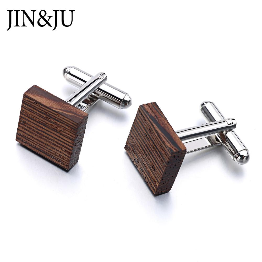 JIN & JU Hot Men Ξύλο μανικετόκουμπα υψηλής ποιότητας επώνυμα κοσμήματα μόδα τετράγωνο Cassia μανικετόκουμπα για άνδρες δώρο επίσημο επαγγελματικό γάμο