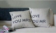 wholesale! 2PCS  LOVE MRS &MR Lovers Cushion Wedding Gifts cotton cushion Linen pillow  cushion  sofa Car cushions