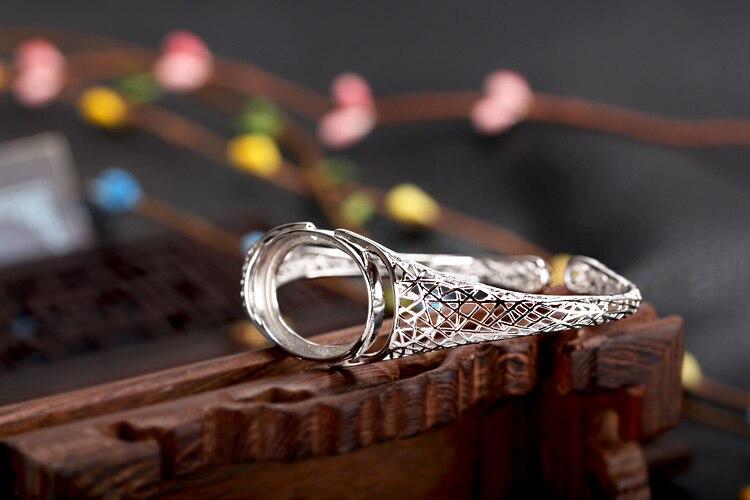 Sterling Silver 925 Women Semi Mount Bracelet Bangle 19x25mm Oval Cabochon Fine Jewelry Wholesale DIY Gemstone