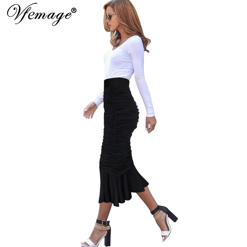 bb6967ae4dd Vfemage Womens Elegant Ruched Frill High Waist Vintage Work Business Party  Cocktail Club Fishtail Mermaid Pencil Midi Skirt 8349-in Skirts from Women s  ...