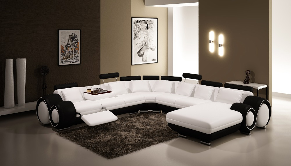 modern corner sofas and leather corner sofas for sofa set living room furniture with large corner : black and white sectionals - Sectionals, Sofas & Couches