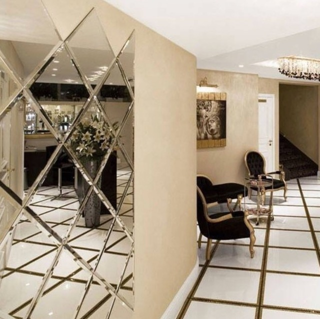 16 Enchanting Modern Entrance Designs That Boost The: Luxury Beveled Mirror Tiles Decoration For Lobby Hallway