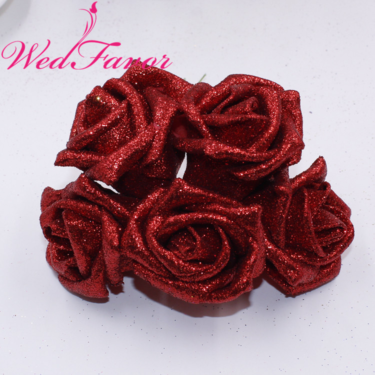 Image 5 - 50pcs 5 6cm Artificial Glittered EVA Foam Rose Flower Bridal Bouquet For Home Event Wedding Decoration-in Artificial & Dried Flowers from Home & Garden
