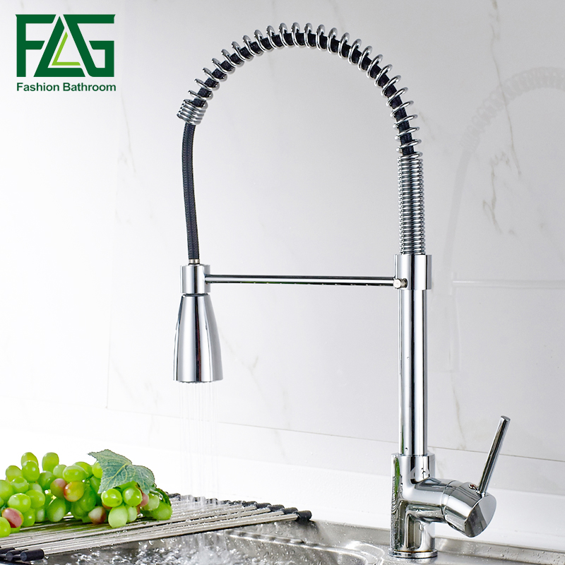 New Arrival Chrome Pull Out Kitchen Faucet, Copper Pull Down Kitchen Tap Mixer, robinet cuisine Tap FLG20019C newly arrived pull out kitchen faucet gold sink mixer tap 360 degree rotation torneira cozinha mixer taps kitchen tap