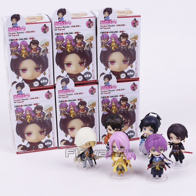 Anime Touken Ranbu Online 1st Squad Kashuu Kiyomitsu Mini PVC Figures Collectible Model Toys 6pcs/set Boxed touken ranbu online mikazuki munechika ichigo hitofuri q version 10cm nendoroid pvc action figures collectible model toys