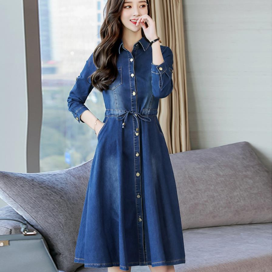 Spring and Autumn New 2019 Women Denim Dress Female Slim Single-Breasted Long-Sleeved lapel Casual Jeans Dress
